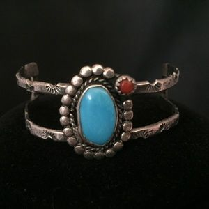 Native American Turquoise Child's Cuff Bracelet